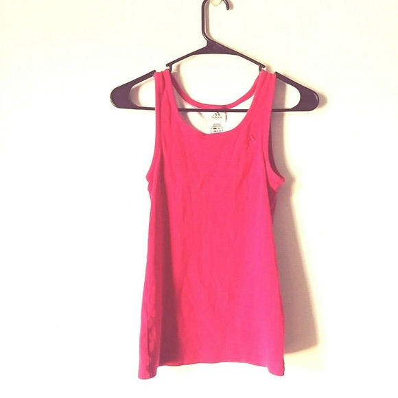 ADIDAS Womens Pink Ribbed Fitted Racerback tank sm